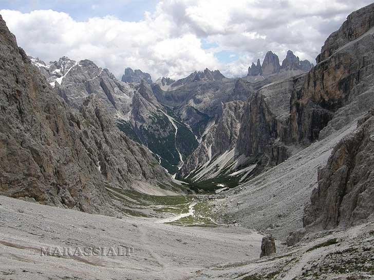 Vista dalla Forcella dei Baranci 2.540 m.
